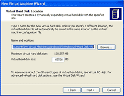 Specify Virtual Hard Disk Location