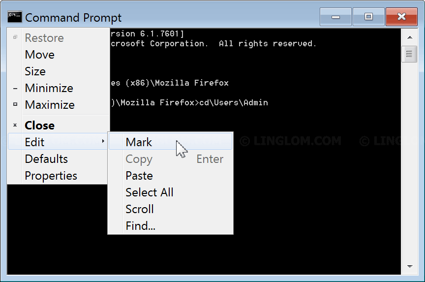 Copy and Paste in Windows Command Prompt