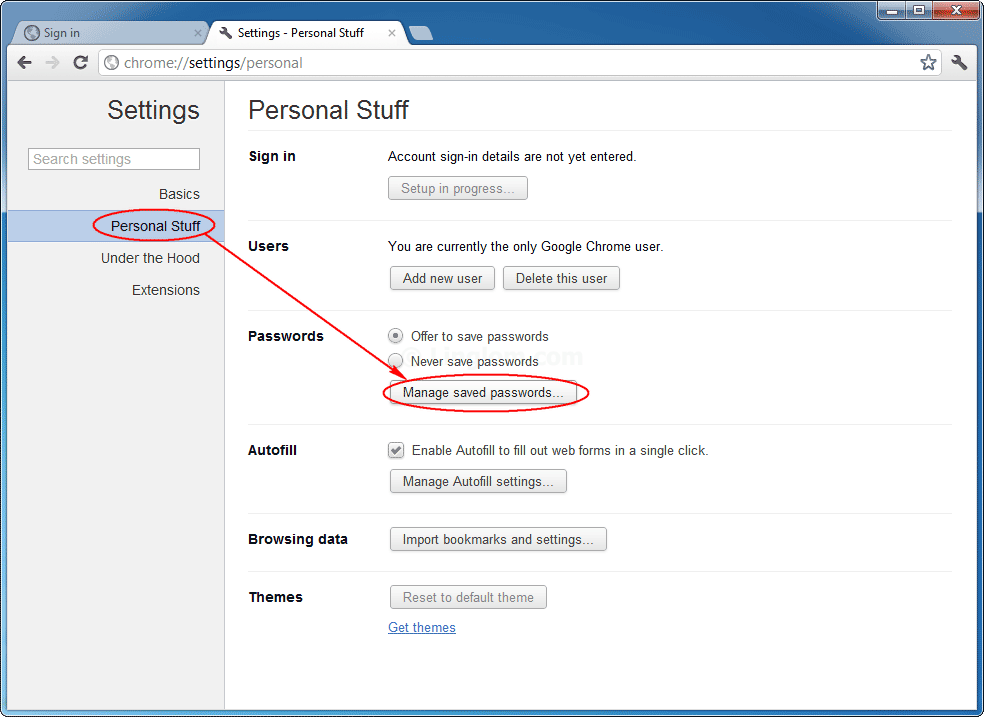 Google chrome password list