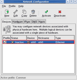 Select a network interface card to configure