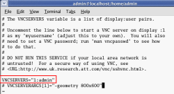 Edit /etc/sysconfig/vncservers