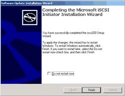 Finish installing Microsoft iSCSI Initiator