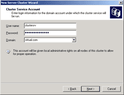 Enter the user account to run the cluster service