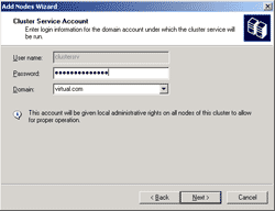 Type password of the service account