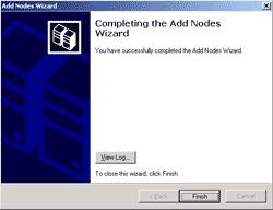 Complete adding nodes wizard