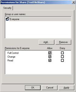 Configure share's permissions