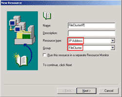 Create a new IP Address resource
