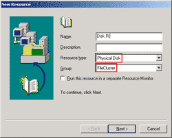 Create a new Physical Disk Resource