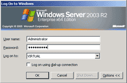 Log-in to the server