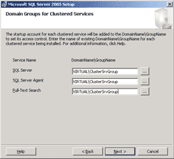 Specify Domain Groups for Clustered Services