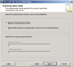 Select SQL Authentication Mode