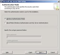 Select SQL Authentication Mode