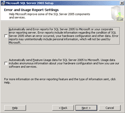 Error and Usage Report Settings