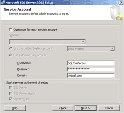 Specify Service Account