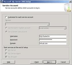 Specify Service Account