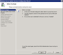 WSUS Configuration wizard