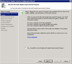 Choose to 'Join the Microsoft Update Improvement Program' or not