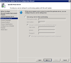 Configure proxy server
