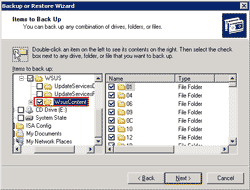 Select folder to backup