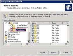Select folder to backup