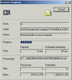 Restoring the file