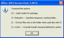 Office SP3 command line optio