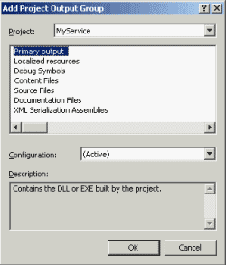Select MyService as a primary output
