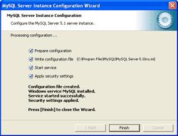Finishes Configure MySQL Server