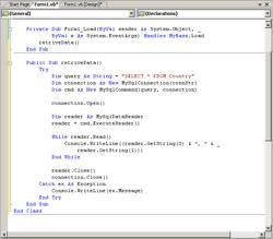 Code for Retrieve Data from MySQL