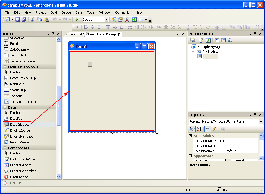 how to show data in datagridview in vb net
