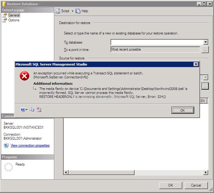 backupset selected