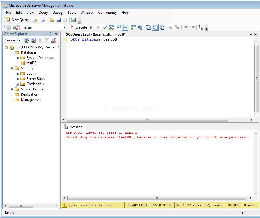 Take ownership of SQL Server 2008 Express - Linglom com