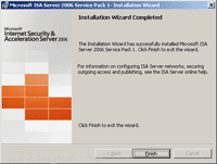 ISA Server 2006 Service Pack 1 Installation Wizard Completed