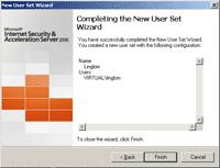 Finish Create New User Set