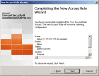 Completing the New Access Rule Wizard