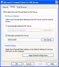 Settings on Microsoft Firewall Client for ISA Server