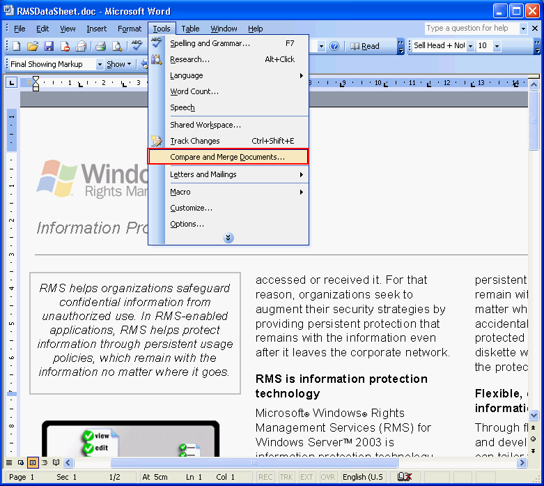 Compare two text files using Microsoft Word - Linglom com