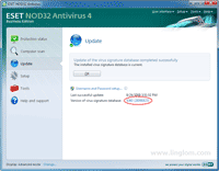 Successfully update virus signature database of Nod32 Antivirus