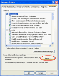 Reset IE Settings