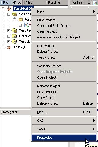 Open project's properties