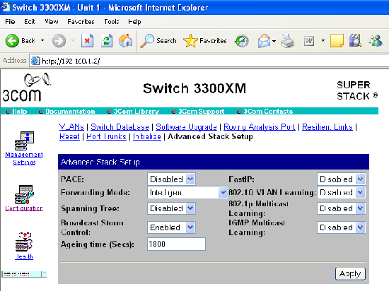 Switch 3300XM web-based menu