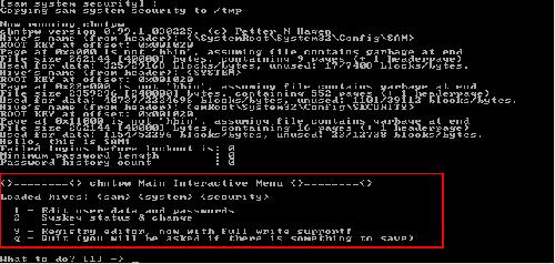 Change NT password menu