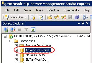 The restored database on SQL Server 2005