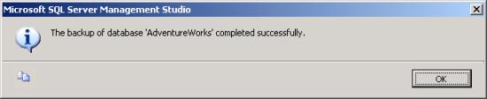 Backup success pop-up message