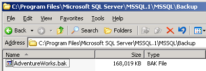 The backup file from SQL Server 2005 Server