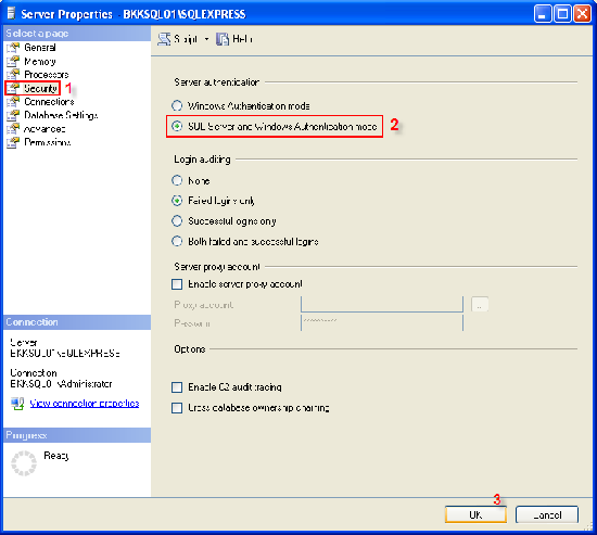 Change SQL Server authentication mode