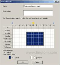 Configure Schedule on ISA Server 2006 - Create New Schedule