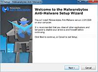Malwarebytes Anti-Malware Installation - Welcome Page