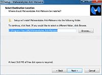 Malwarebytes Anti-Malware Installation - Select Destination Location