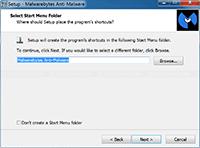 Malwarebytes Anti-Malware Installation - Select Start Menu Folder